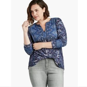 Lucky Brand Placed Print Top - 1X